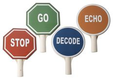 """CONVERSATIONAL SOLFEGE SIGN PACK - Laminated 11"""" reversible signs with handles: Stop/Go, Echo/Decode, & 1 Extendable Pointer designed for use with John Feierabend's Conversational Solfege curriculum."""