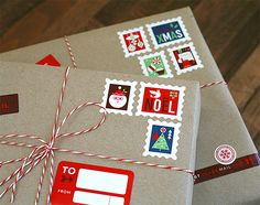 Decorate gifts for Christmas with these stamp and label stickers made to make it look as if your package came from over the river and through the wood.