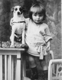 Edwardian photo of child with Jack Russell Terrier