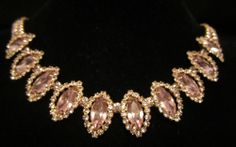 """Stunning Vtg 16""""x3/4"""" Signed Weiss Gold Tone Purple Rhinestone Necklace A1"""