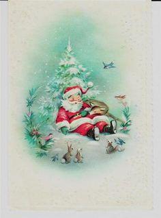 Vintage Unused Santa Asleep with Deer in Glitter Forest Christmas Greeting Card   eBay