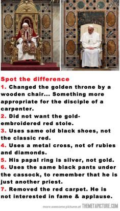 Funny pictures about Old Pope vs. New Pope. Oh, and cool pics about Old Pope vs. New Pope. Also, Old Pope vs. New Pope. Papa Francisco Frases, Guter Rat, New Pope, Religion Catolica, Faith In Humanity Restored, Emotion, Roman Catholic, Catholic Saints, Catholic Beliefs
