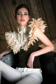 Just lovely!!!!  Etsy listing at https://www.etsy.com/listing/151783848/lace-feather-collar-symphony
