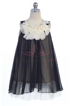 Black Chiffon Short Flower Girl Dress K284-BK $46.95 on www.GirlsDressLine.Com
