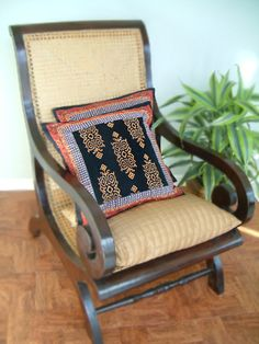 Kilim Noir ~ Rustic Black Designer Throw Pillow Cushion Cover
