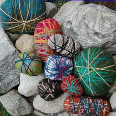 String wrapped rocks? The kiddos loved wrapping sticks - how about rocks? These are made from upholstery foam scraps but I bet you could use real rocks. A nice change from the regular painted rocks.