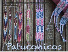 Friendship bracelets Patuconicos hand made in Spain / Pulseras Patuconicos hechas a mano en España.Pulseras Patuconicos: serie isazen con hilo muy fino y de alta calidad: 12, 9, 9, 12; Pulsera espigas de algodón 5€, Brazaletes dobles 12€ la unidad. (gastos de envio no incluidos).