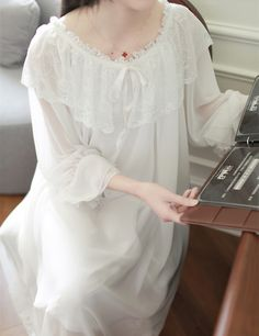 e2685de084 Lace Modal Nightgown Women Lace Long Home dress Isn`t it awesome  Get it