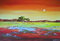 "Buy AN ORIGINAL LOUIS PRETORIUS:""Early Moon Rising"" (900mm x 600mm x 35mm) for R800.00"