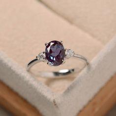 Oval alexandrite ring, silver, alexandrite jewelry, gemstone ring by LuoJewelry on Etsy https://www.etsy.com/listing/279423676/oval-alexandrite-ring-silver-alexandrite