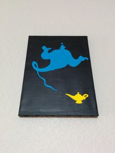 Hand painted Disney-style silhouette painting on stretched canvas. This painting shows the all powerful Genie and his lamp (itty bitty Disney Canvas Paintings, Disney Canvas Art, Mini Canvas Art, Easy Canvas Painting, Diy Canvas, Disney Art, Diy Painting, Painting & Drawing, Disney Style