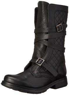 Steve Madden Women's Bounti Combat Boot, Black Leather, 8 M US