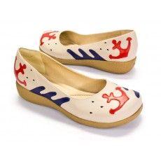 Ref: 485-37 Sapato Retrô Conforto Marinheiro Off White/Cereja/Bick