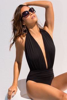 Sexy Swimwear 2017 | Women's Black Dramatic Plunge One-Piece Swimsuit.