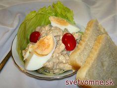 Lahodný kurací šalát • Recept   svetvomne.sk Fresh Rolls, Hot Dog Buns, Salads, Bread, Chicken, Ethnic Recipes, Fit, Shape, Brot