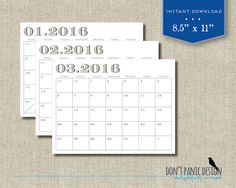 Printable Wall Calendar  Teal Modern Portrait  Month Wall