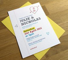'School Notebook' party invitations