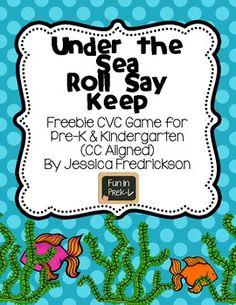 Under the Sea Roll Say Keep: CVC Words Freebie (Common Cor
