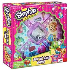 Shopkins Pop 'N' Race Game — Classic Game with Shopkins Theme  This well-known board game brings Shopkins characters to life. Players pop the dome to roll the die, then move their playing pieces around the board. When they land on another player's piece that player is in trouble–they have to move their playing piece back to Start.