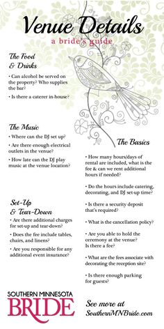 Venue details are important! Know what questions to ask   Choosing A Venue   Southern Minnesota Bride Blog