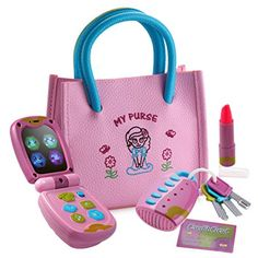 Playkidz My First Purse Pretend Play Princess Set for Girls with Handbag Flip Phone Light Up Remote with Keys Play Lipstick Kids Credit Card Great Educational Toy for Fun Learning >>> Click image for more details.