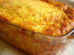 Запеканка из кабачков Ингредиенты: 400 грамм кабачка, 100 грамм сыра, 2 яйца, 100 грамм сметаны, 0,5 чайной ложки гашеной соды, 150 грамм муки, зелень, 0,5 чайной ложки соли., перец. Приготовление: 1. Кабачок натереть, отжать хорошенько. Сыр очень мелко порезать или натереть, порезать зелень. 2. Сод