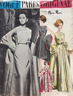 VPO 1157 Nina Ricci Dress & Stole partially c/complete+tag Princess fitted slvs dress has 2 lengths plastron front below oval neckline, long bow with tied streamers, optional straight stole. Vintage Vogue, Vintage Fashion, Classic Fashion, Vintage Clothing, Vintage Gowns, Vintage Dress, Vintage Outfits, Vogue Sewing Patterns, Vintage Sewing Patterns