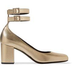 Saint Laurent Babies metallic textured-leather pumps ($560) ❤ liked on Polyvore featuring shoes, pumps, heels, saint laurent, high heeled footwear, metallic pumps, metallic heel pumps, metallic heel shoes and yves saint laurent shoes