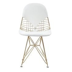 M245 Chair in White and Gold (Set of Two)