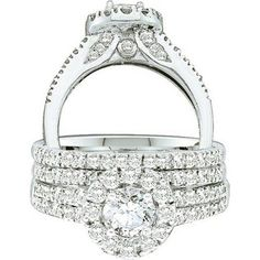 Thanks for Sharing!  1.26 Carat (ctw) 14k White Gold Round Cut White Diamond Ladies Halo Bridal Engagement Ring Set - Dazzling Rock #https://www.pinterest.com/dazzlingrock/