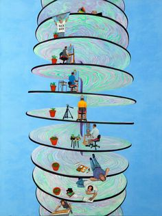 """""""Spirale du temps"""" Technique: peinture à l'huile (50 X 70cm)"""