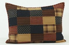 """Purchase a couple of our Patriotic Patch Quilted Luxury Sham 21x37"""" to finish off your Patriotic Patch quilted bedding for a more completed look. https://www.primitivestarquiltshop.com/products/somerville-chindi-runner-13x48 #primitivecountybedroomsbeddingandaccessories"""