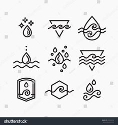 Vector line set of water symbols, outline isolated icons.