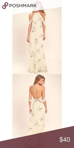 Tuned In light beige floral print maxi dress Lightweight chiffon with a green, light pink, and purple floral print shapes a tying apron neckline, with ruffed, off the shoulder straps. Fitted princess seamed bodice and full maxi skirt Lulu's Dresses Maxi