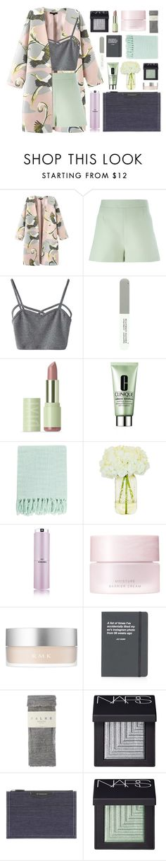 """""""mint, baby pink, charcoal"""" by charli-oakeby ❤ liked on Polyvore featuring Valentino, WithChic, Deborah Lippmann, Clinique, Surya, Chanel, SUQQU, RMK, Topshop and Falke"""