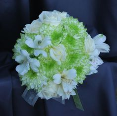 Bridesmaid bouquet-soft green mums with pearl white alstromeria