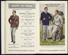 """The 1930s saw the introduction of men's sports shirts and jackets, as well as specialist clothing for hiking, cricket and tennis. (Kay & Co Ltd of Worcester, England) 1933 (i.e. """"flannels"""" for tennis)"""