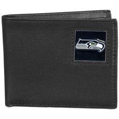Seattle Seahawks Leather Bi-fold Wallet Packaged in Gift Box