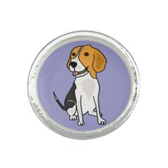 Cute Beagle Puppy Dog Ring #beagles #dogs #pets #rings #jewelry And www.zazzle.com/petspower*