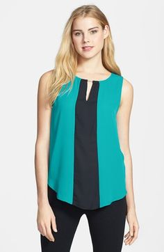 Pleione Colorblock Keyhole Detail Sleeveless Shell available at #Nordstrom