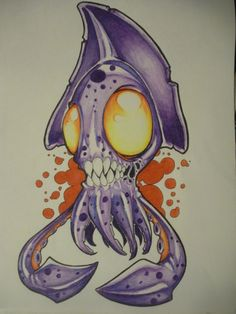 Squid Drawing | Creepy | Awesome Drawings | Colorful