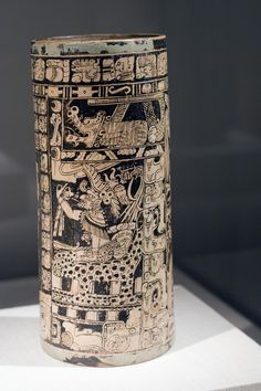 Vase of the seven gods Ah Maxam Late Classic Maya Vicinity of Naranjo Peten region Guatemala 750-800 CE Ceramic and pigment,  Chi Art Inst.....  original photo taken by Thing Of Interest
