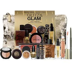 Glitz And Glam Party Sampler from Sephora [includes: Stila Duo Shimmer Powder, Laura Mercier Baked Eye Color, bareMinerals Eyecolor, Sephora by OPI Nail Color, Josie Maran GOGO Instant Volume Mascara, Nars Body Glow, Lorac 3D Liquid Lustre, Bare Escentuals Marvelous Moxie Lipgloss, Stila Smudge Stick Waterproof Eye Liner. only $45!]
