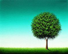 Minimalist Green Tree Print, Emerald Green Tree Art, Housewarming Gift Idea, Modern Contemporary Home Decor, Springtime Landscape Giclee by BingArt on Etsy
