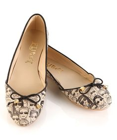 Look at this Black & White Crowd Ballet Flat on #zulily today!