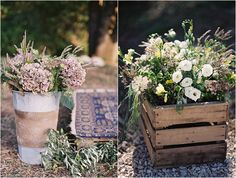 Crates of wedding flowers | Image by Feather and Stone, read more http://www.frenchweddingstyle.com/olive-grove-wedding-feather-and-stone/