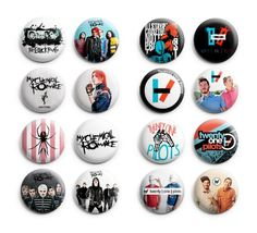 My Chemical Romance / Twenty One Pilots Pinback Buttons 16Pcs 1.25 inch Mix Set Mix Sets http://www.amazon.com/dp/B00SBOW7HQ/ref=cm_sw_r_pi_dp_n-lHvb1R95AK2