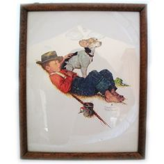 VINTAGE NORMAN ROCKWELL Old PRINT PRINTED Art Painting BOY DOG Wood Wooden Frame $98 .. we sell more VINTAGE and OLD HOME DECORATIONS at http://www.TropicalFeel.com
