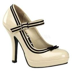 Women's Pin Up Secret 15 Cream Patent Leather | Overstock.com Shopping - Great Deals on Pin Up Heels