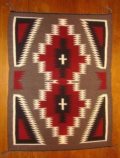 Navajo Handwoven Ganado Red Rug With Spider Women Crosses Excellent Condition!!